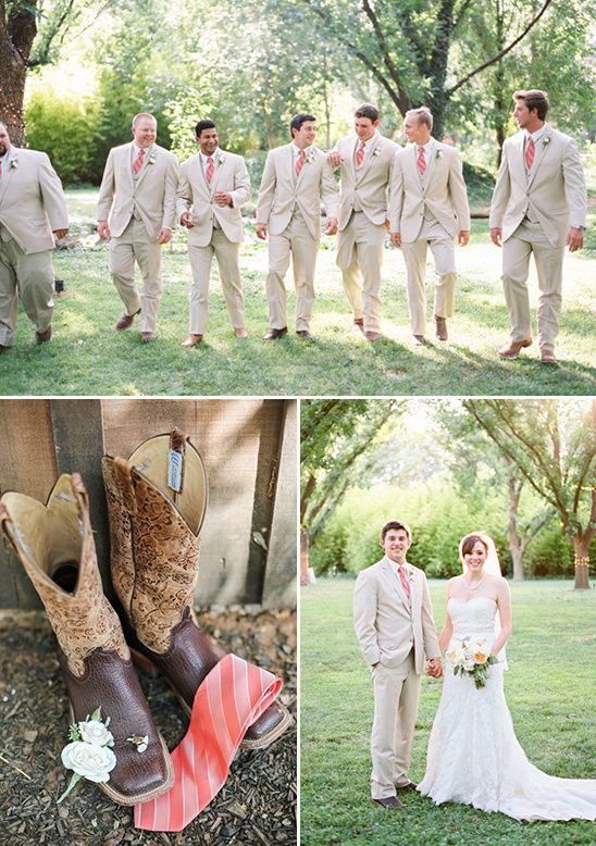 tan and coral groomsmen look
