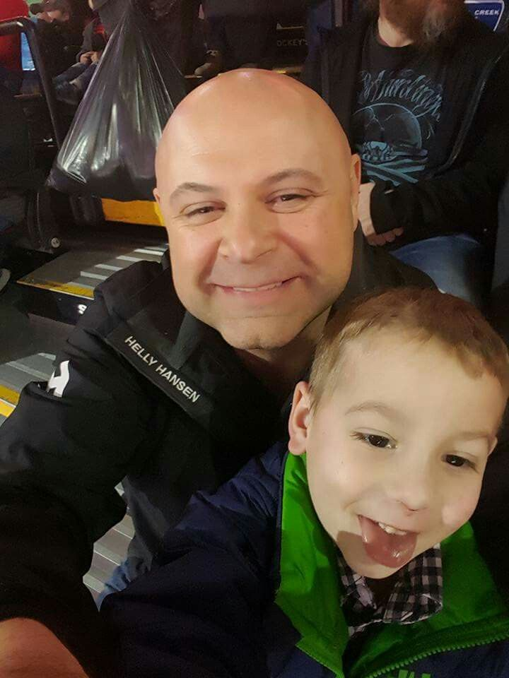 Declan and I at a #hockey game a few days ago.