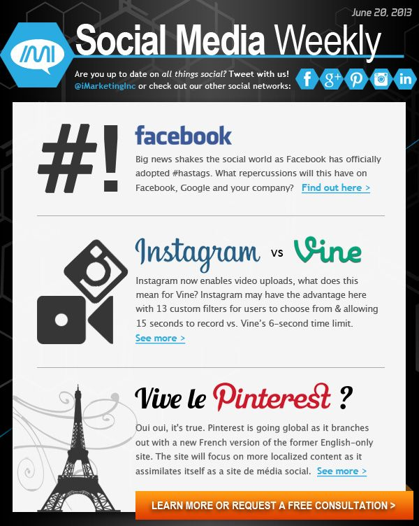 20 June 2013:  Pinterest moves to the #CityOfLove while Instagram and Vine start a #BattleRoyal. Find the latest here...