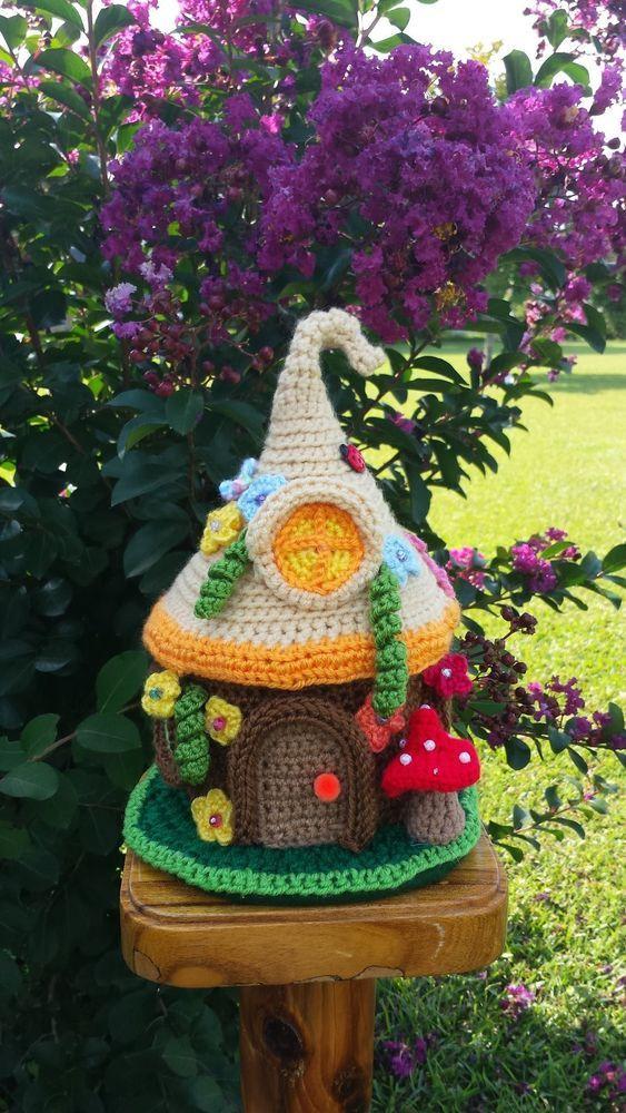 Handmade crochet fairy gnome house garden decor owl pinterest gardens house and crochet - Decoration au crochet ...