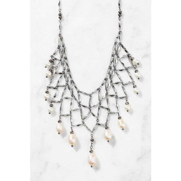 South Moon Under Chain Bib With Pearl Drops ($72) ❤ liked on Polyvore featuring jewelry, necklaces, silver, white pearl necklace, long bib necklace, pearl chain necklace, pearl bib necklace and chain jewelry