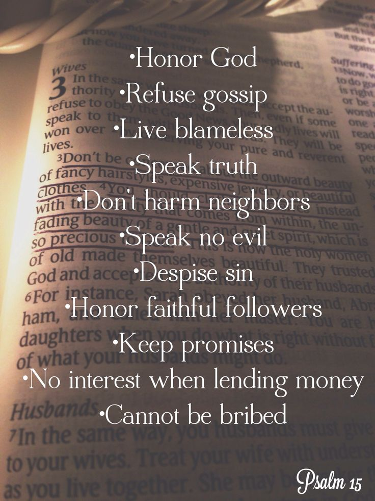 I want to live out this list! Psalm 15