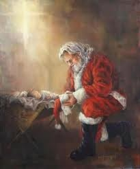 I have always loved this picture.  Santa praying over baby Jesus...Signifies the real meaning of Christmas.