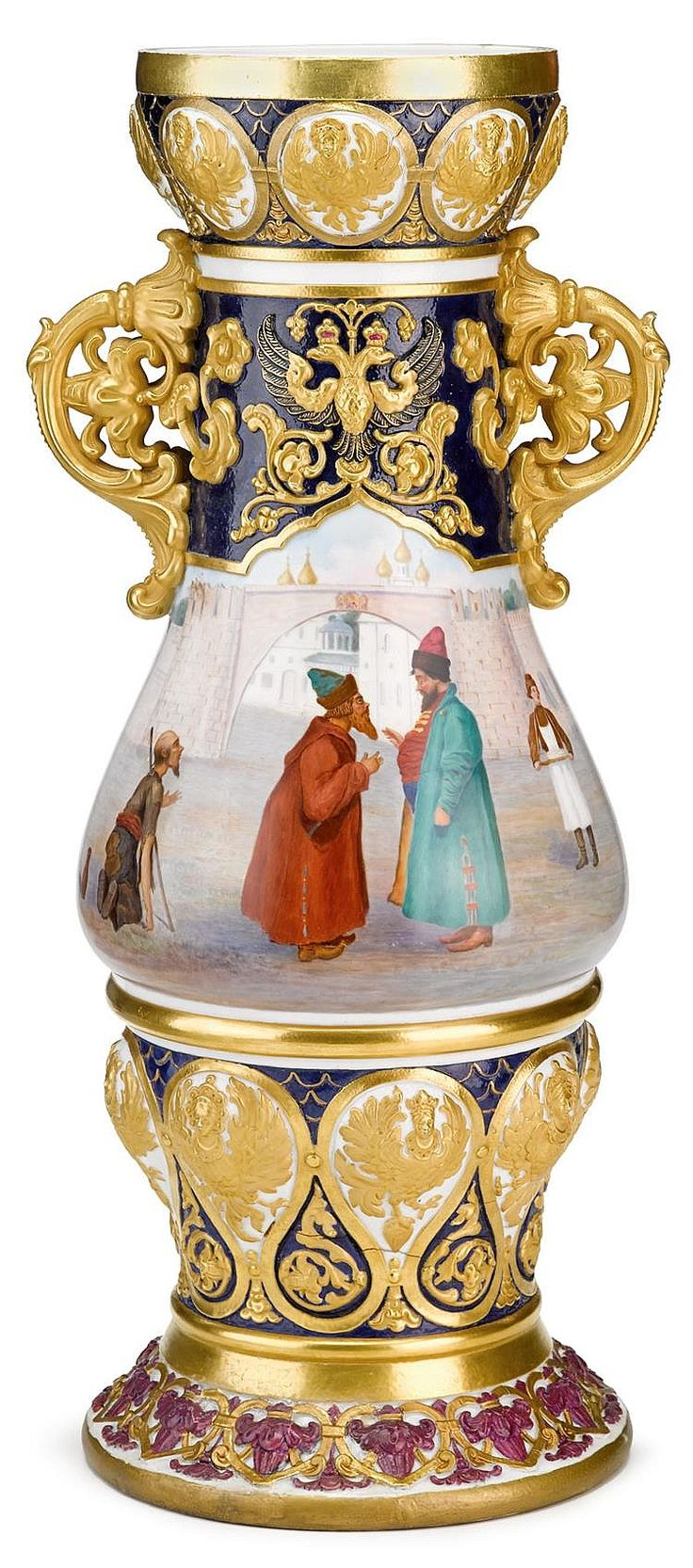 Russian Imperial porcelain vase st petersburg, period of nicolas i circa 1840  Baluster form, the finely gilt scroll handles to neck flanking the relief molded Imperial eagle on either side, the body painted on one side to show a boyar at the entrance to a monastery conversing, as a beggar and attendant look on, the rim and lower body with a series of applied harpie motifs interspersed with raised gilt floral scrolls, the whole raised on circular foot, blue cypher mark to bottom.  H: 26 in.
