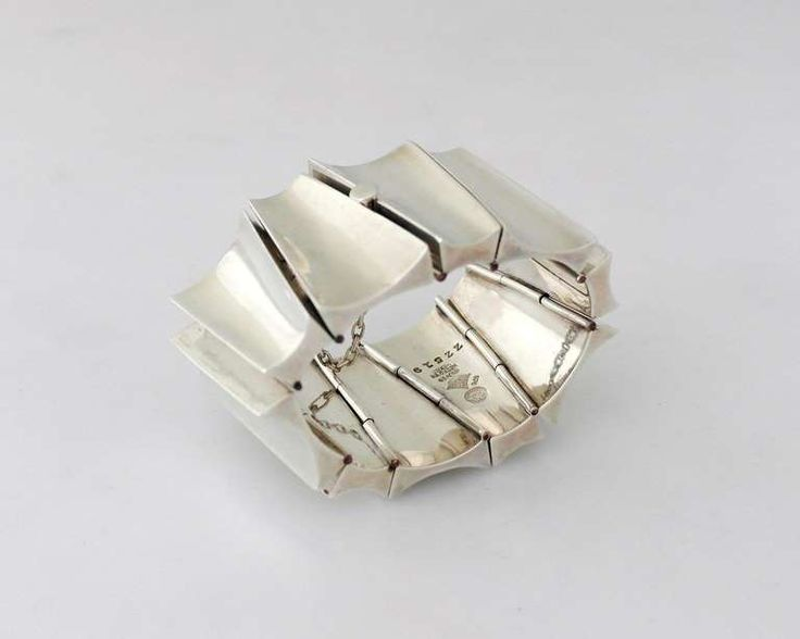 Incredible Antonio Pineda .970 Silver Modernist Wide Bracelet | From a unique collection of vintage link bracelets at https://www.1stdibs.com/jewelry/bracelets/link-bracelets/