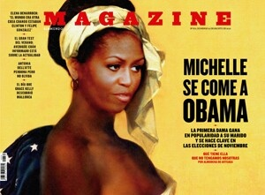 First Lady Michelle Obama's face superimposed over a 1800 female slave painting by French artist Marie-Guilhelmine Benoist. Seated on a chair covered with the American Flag, right breast exposed, & wearing an Aunt Jemina headscarf. Clearly provoked by the sight of Obama. The image is nothing short of blatantly racist propaganda.