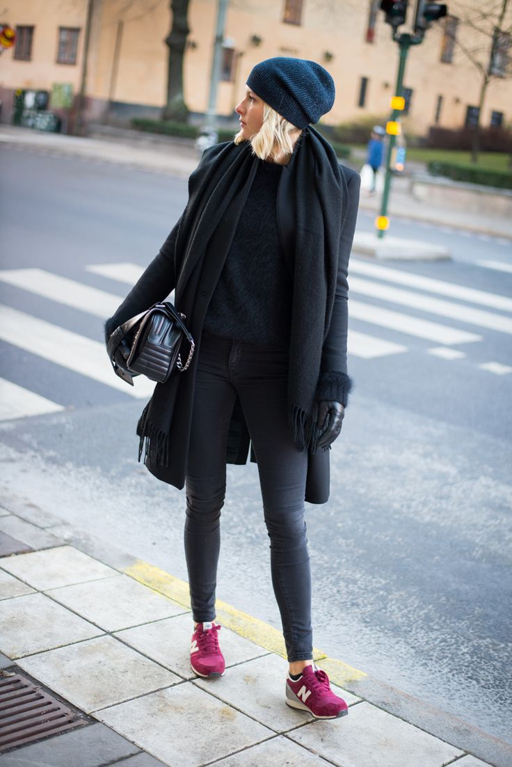 Darkness with a pop of New Balance - I have these shoes. Love it with all black outfit