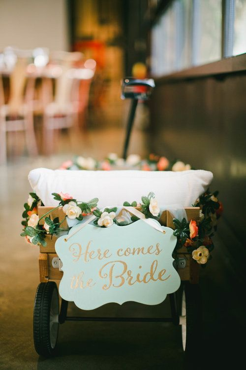 Modern Tiki Wedding Flower GIrl Wagon