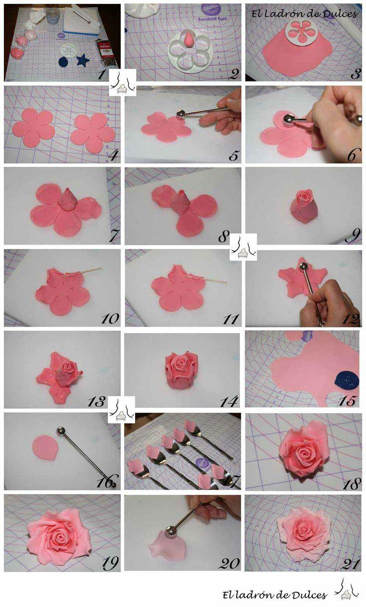 Cómo hacer una rosa en pasta de goma. How to make a rose with gum paste