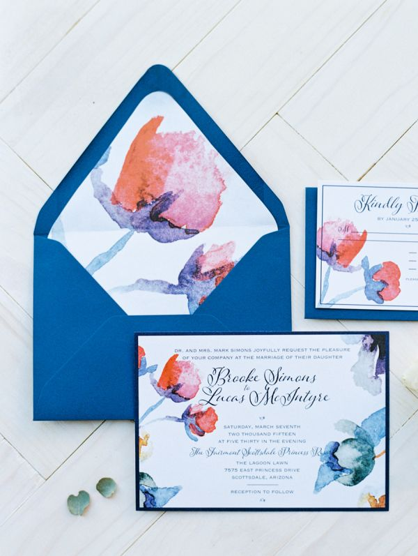Blue and Pink Wedding Stationery | photography by http://www.brushfirephotography.com
