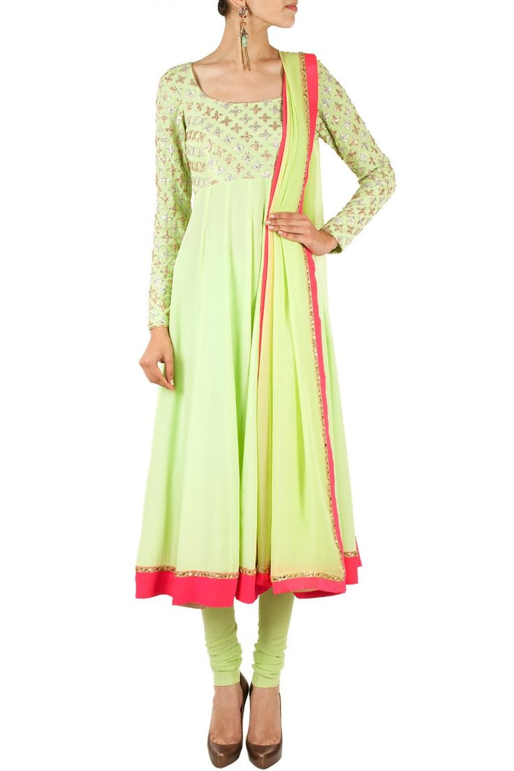 Mint and pink embroidered anarkali set BY ANUSHKA KHANNA, Shop now at perniaspopupshop.com #perniaspopupshop #clothes #womensfashion #love #indiandesigner #anushkakhanna #happyshopping #sexy #chic #fabulous #PerniasPopUpShop