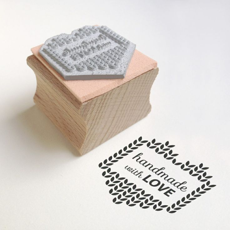 "Add an original message to your creations! Cute rubber stamp with ""handmade with love"" message. Ideal for customising gift tags."