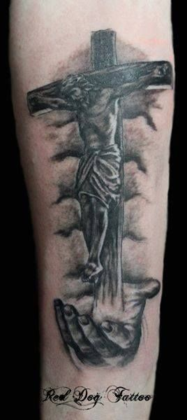 Open praying hands with rosary and cross tattoo