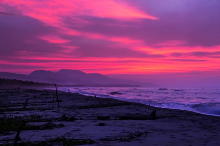"""We had this beautiful sunset that painted the sky in reddish purple over at the """"la Mar de Bien"""" near the  Tayrona National Park (Parqué National Natural de Tayrona) in #Colombia famous for its beaches. Tag someone in the comments who you'd like to share this view with!?"""