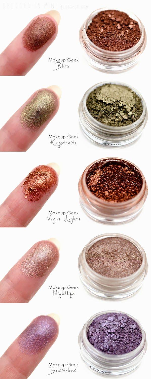Dressed in Mint: Recenzja: najnowsze pigmenty Makeup Geek - swatche - Markeup Geek Pigment Swatches