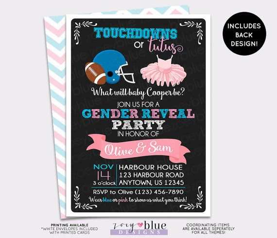 Touchdown or Tutus Gender Reveal Invitation - Football Baby Shower Girl or Boy Twin Tutus and Touchdowns - Fall Gender Reveal - Digital File Please be aware that this is a digital file made on a computer which will be printed on paper using normal ink. If the design has a glitter pattern. When printed it will NOT print real glitter. It is a glitter pattern, not actual glitter. When you print the file it should look like what you see on the screen, but it does not print glitter. The same…