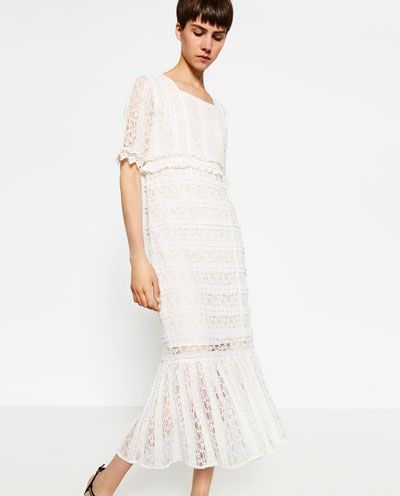 Zara lace dress off white 2018