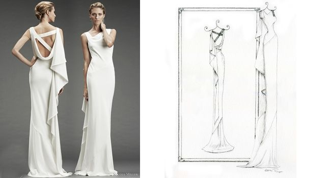 Nicole Miller Dress – Pencil | Pretty as a Picture. Gorgeous sketch of wedding dress by Ailbhe Ryan of Pretty as a Picture. #weddingdress #weddingdresssketch #beautifuldress #prettyasapicture #weddingdressportrait