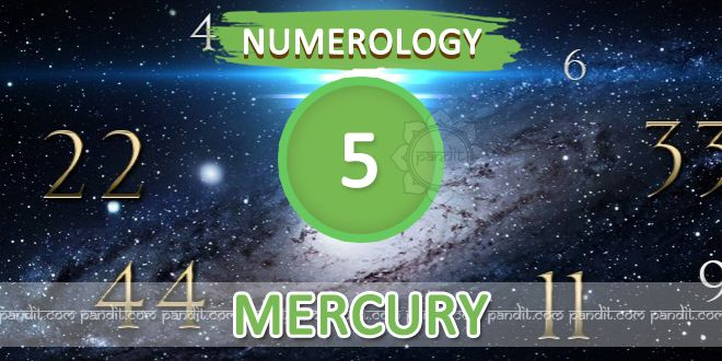 """"""" Numerology Number 5 """" by Numerologist  Rahul Kaushal  -------------------------------------------------------- Numerology Number 5 : This number 5 is governed by planet Mercury representing fastness, shrewdness, diplomacy, business ability as well as activeness, with mentally sharpness. The people born on 5th, 14th ,23rd or a month are governed by this planet of evaluation everything in terms of business mind.  http://www.pandit.com/numerology-number-5-chart/"""