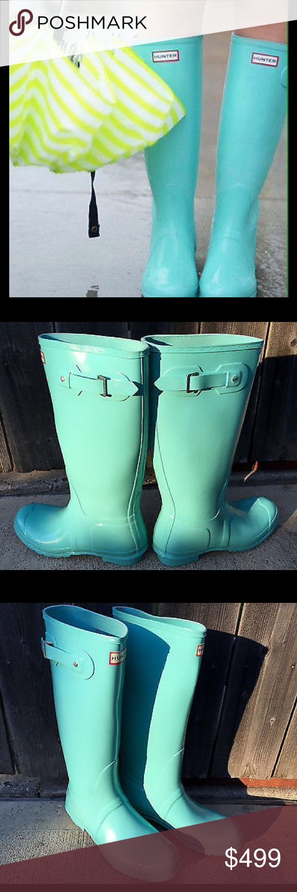 Ultra Rare Hunter Tiffany Blue Rain Boots Size 11 From my treasure chest - Probably the only Hunter Tiffany Blue boots in US size 11 / EU 43 for sale in the world. Photos 2-4 are the actual boots. In unworn and perfect condition. Please let me know if you see another pair like these. Good luck. Hunter Boots Shoes Winter & Rain Boots