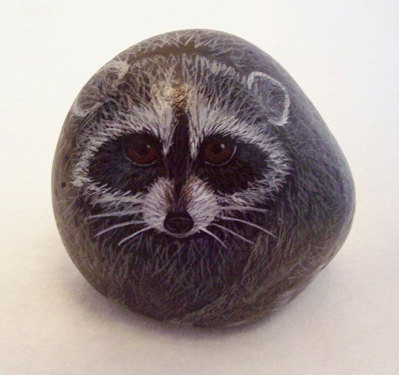 Rocky Raccoon Hand Painted Rock by NorthBeachCrafts on Etsy, $16.00