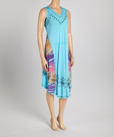This Turquoise Embroidered V-Neck Dress by Aqua Blue is perfect! #zulilyfinds