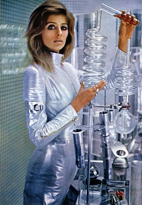 """Science fiction and space inspired women's fashion, 1967. From """"NOVA"""", April 1967."""
