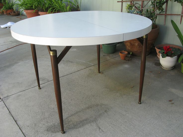 Mid Century Modern Walter Of Wabash White Laminate Dining Table With Leaf Small End Tables