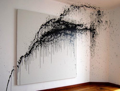 Splatter // drip.   This could totally make an awesome feature in your home!