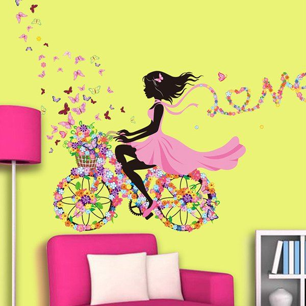 Elegant $4.89 Romantic Colorful Mariposa Floats Flower Elf Girl Removable Wall  Sticker Part 8