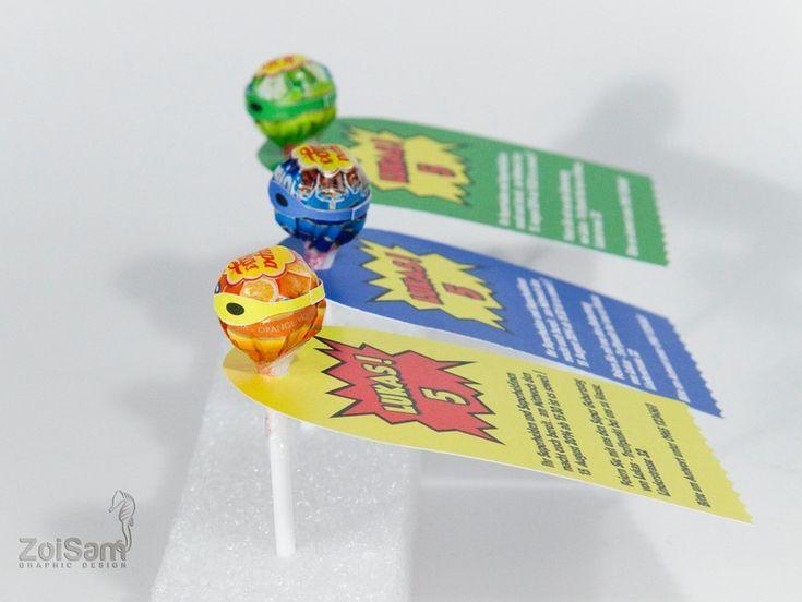 Einladungskarte Lolli Superheld von Zoisam auf DaWanda.com