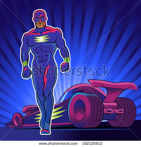 Super hero. Vector illustration on a red background - stock vector