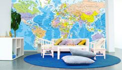 World Political Map Wall Mural - Peel and Stick decal causes no damage to wall and can be transferred. Kids would love this in our school room!