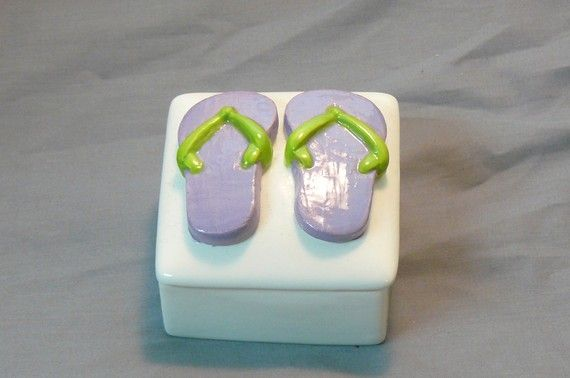 Ceramic Flip Flop Keepsake Box by GrapeVineCeramicsGft,Flipflops
