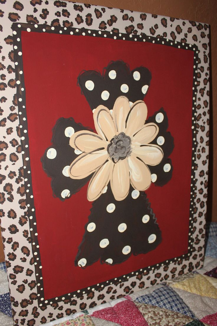 Hand Painted Cross on 16x20 canvas   wall art wall hanging polka dots cheetah print by normanfiveart on Etsy https://www.etsy.com/listing/104421686/hand-painted-cross-on-16x20-canvas-wall