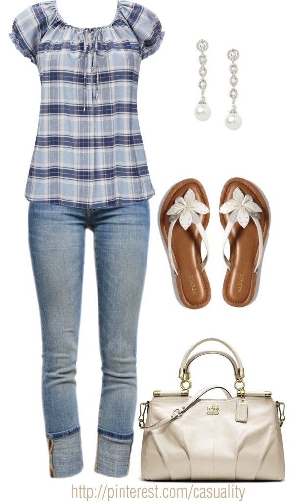 """""""Check Blouse & Flower Sandals"""" by casuality on Polyvore"""