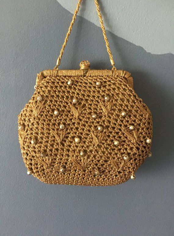 dceb4f93908 Vintage Gold Crochet Evening Bag- Styled My Simon- Made In Italy ...