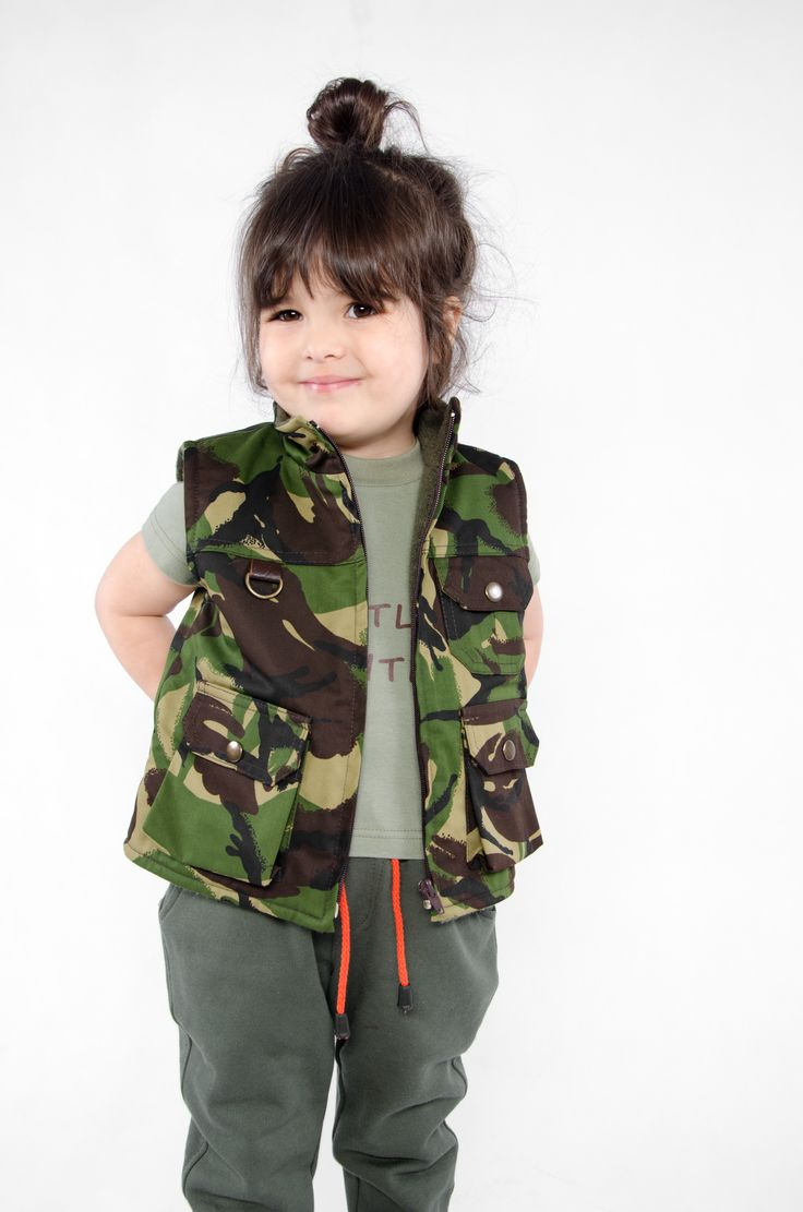 camo vest# kids fashion# little hunter#WADERA
