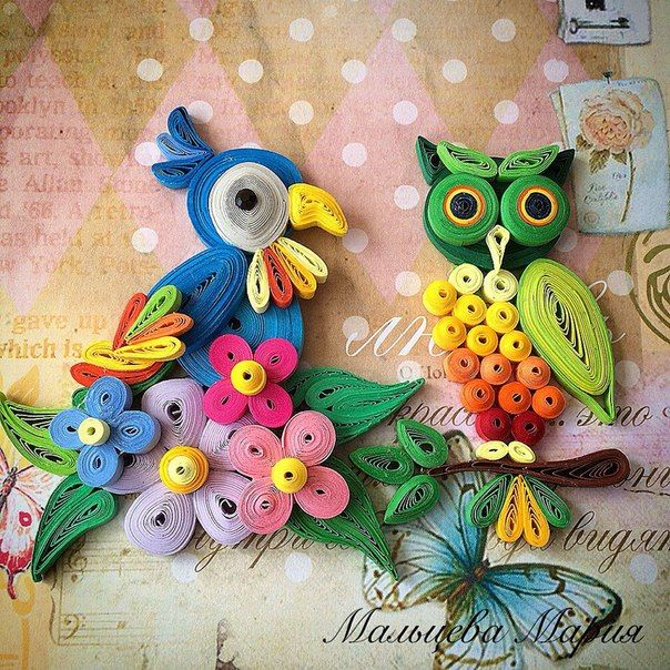 Quilled Parrot and Owl - by: Artist Name on Photo