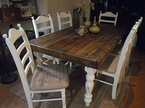 pallet wood farmhouse dining table, painted furniture, complete I was thinking of ditching the chairs and making benches but then I thought I should just give it a shot to paint them and now Im so glad I did