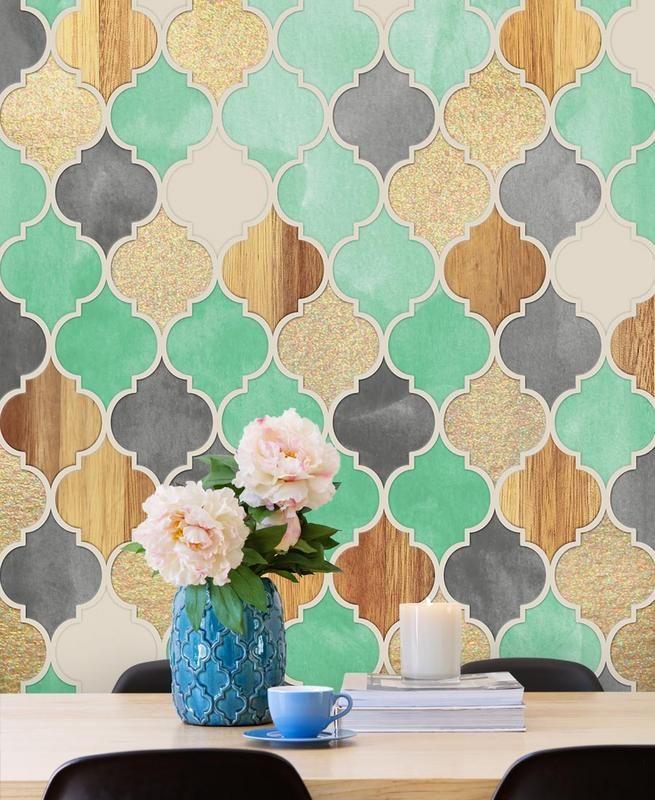 Papier peint texturé motif marocain chez Juniqe, 37€ / m²