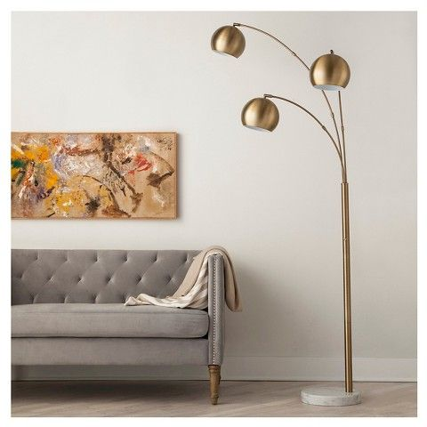 3 globe arc floorlamp antique brass threshold - Arc Floor Lamps