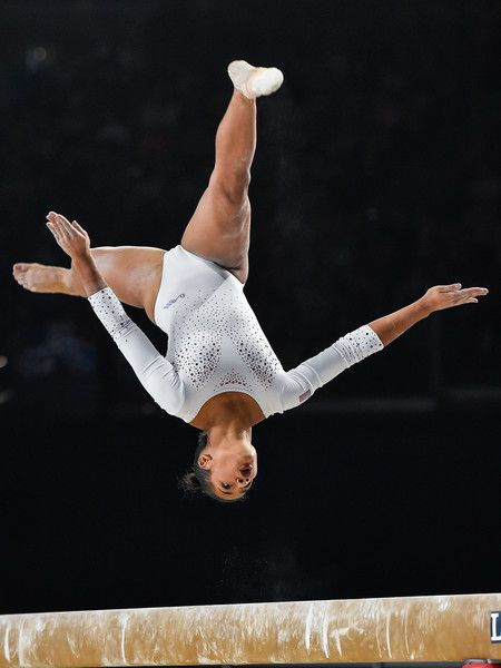 Marine Boyer of France competes on the balance beam during the qualification round of the Artistic Gymnastics World Championships on October 4, 2017 at Olympic Stadium in Montreal, Canada.