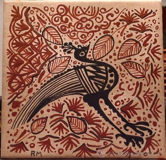 SOCARRAT VALENCIANO. Pavo real. 15 X 15 cm. Siglo XV