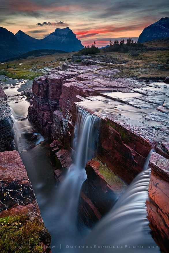 Triple Falls in Glacier National Park, Montana