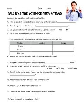 bill nye atoms nice bill nye and worksheets. Black Bedroom Furniture Sets. Home Design Ideas