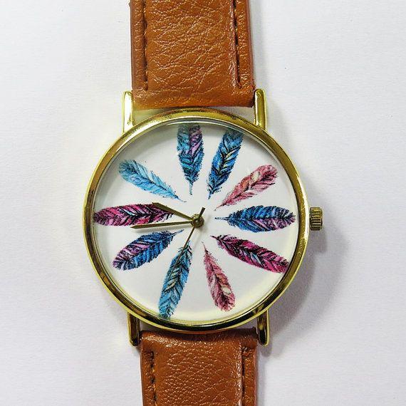Colorful Feathers Watch, Vintage Style Leather Watch, Women Watches, Unisex Watch, Boyfriend Watch