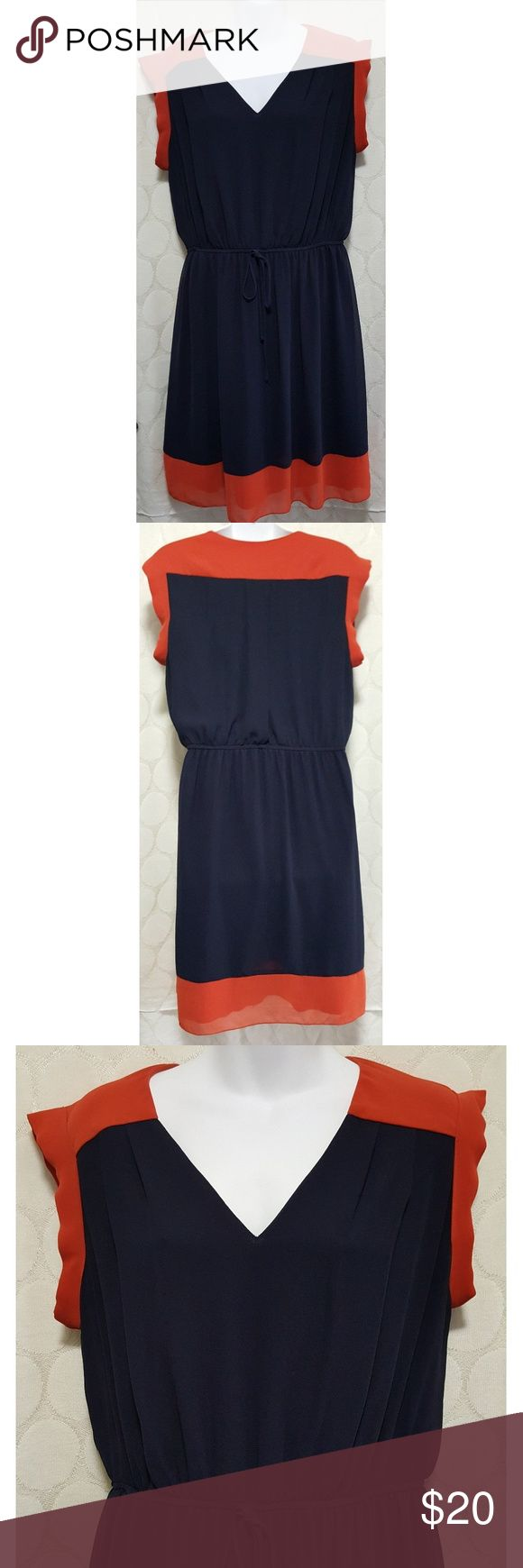 En Focus Sheer Blue and Tangerine Tie Belt Dress En Focus Sheer Blue and tangerine tie belt dress. Excellent used condition. Fully lined. Super comfy. Smoke free home. Size 14W. En Focus Dresses