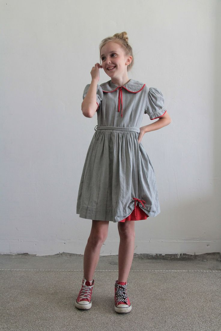 1950s Little Girl Dress Plaid Grey And White Red