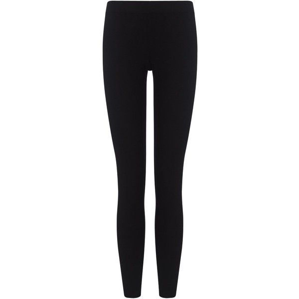 James Perse Black Basic Leggings ($110) ❤ liked on Polyvore featuring pants, leggings, bottoms, jeans, trousers, black, slimming leggings, james perse leggings, black elastic waist pants and stretch waist pants